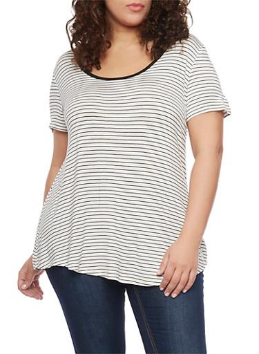 Plus Size Striped Short Sleeve Caged V Back T Shirt,WHITE-BLACK,large