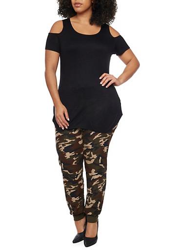 Plus Size Cold Shoulder Tunic Top,BLACK,large