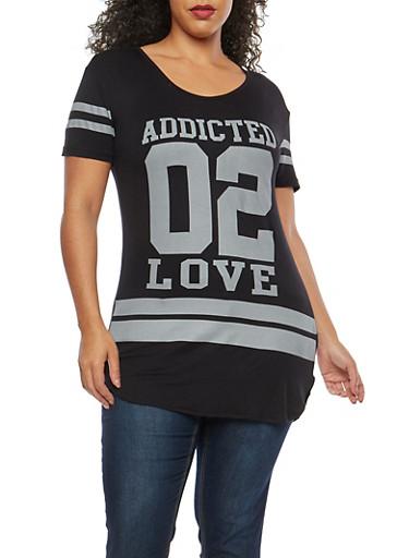 Plus Size Addicted 2 Love Graphic T Shirt,BLACK,large