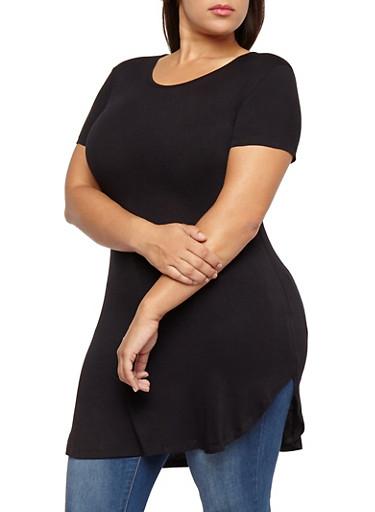 Plus Size Short Sleeve Tunic Top,BLACK,large