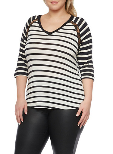 Plus Size Striped Top with Lace Insets,BLACK  COMB,large