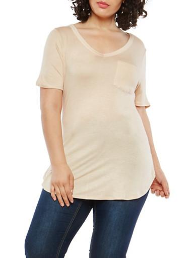 Plus Size V Neck Tunic T Shirt,PEACH,large