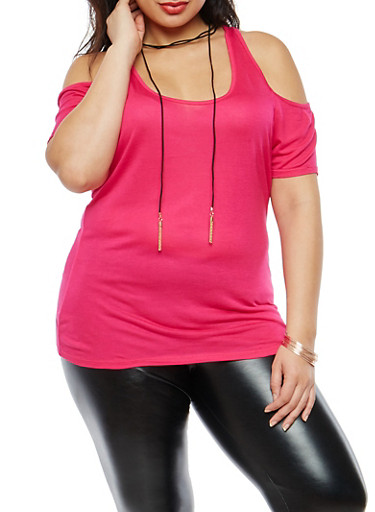 Plus Size Cold Shoulder Top with Tassel Choker,FUCHSIA,large