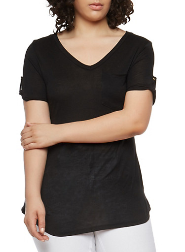 Plus Size Basic Tabbed Sleeve T Shirt,BLACK,large