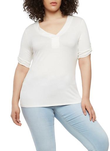 Plus Size Tabbed Sleeve Basic T Shirt,WHITE,large