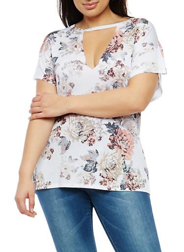 Plus Size Floral Print T Shirt,MAUVE,large