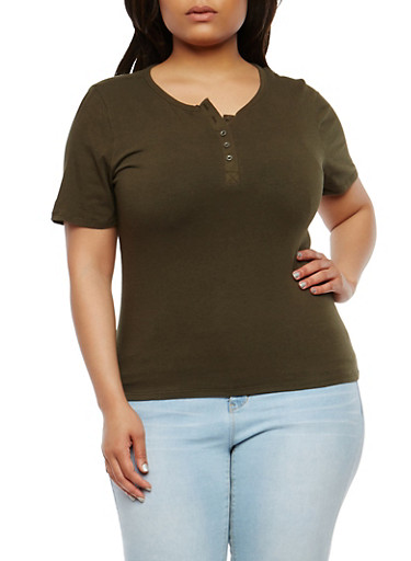 Plus Size Basic Henley Top,OLIVE,large