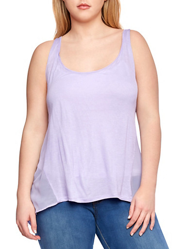 Plus Size Racerback Tank Top with Sheer Back,LAVENDER,large