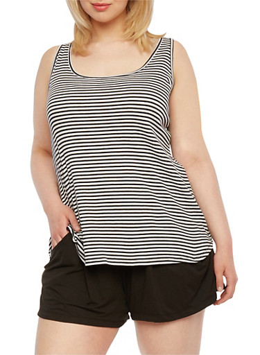 Plus Size Striped Tank Top,BLACK,large