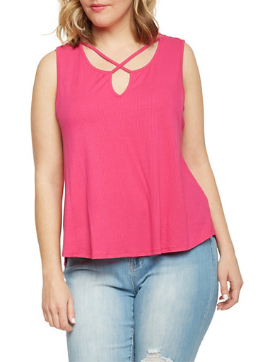Plus Size Caged Neck Rib Knit Tank Top,FUCHSIA,large