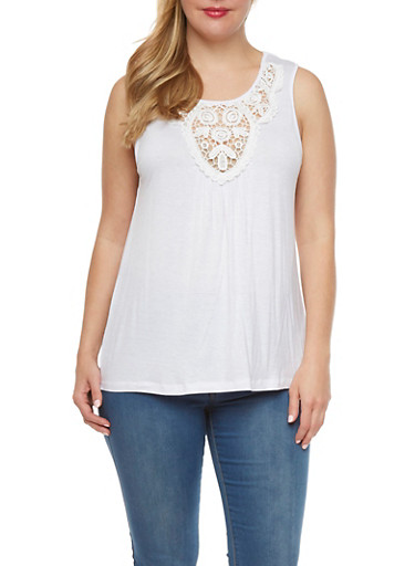 Plus Size Crochet Neck Sleeveless Top,WHITE,large