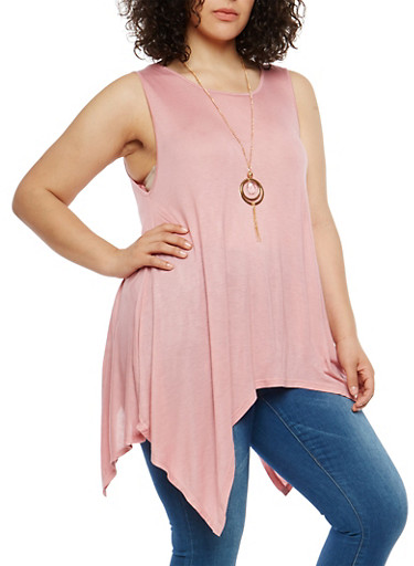 Plus Size Sharkbite Hem Top with Necklace,BLUSH,large