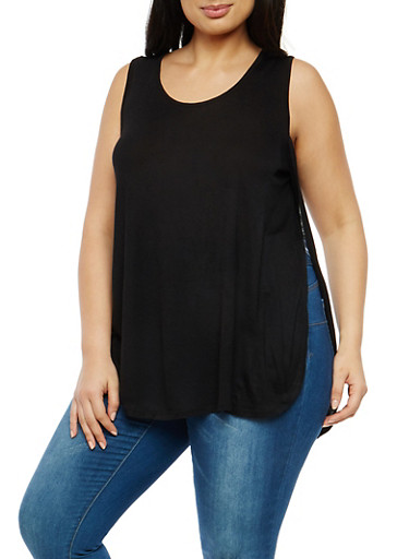Plus Size Sleeveless Open Side Top,BLACK,large