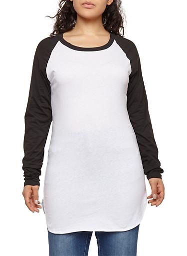 Plus Size Color Block Crew Neck Top,WHITE-BLK,large