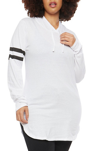 Plus Size Hooded Long Sleeve Top,WHITE,large