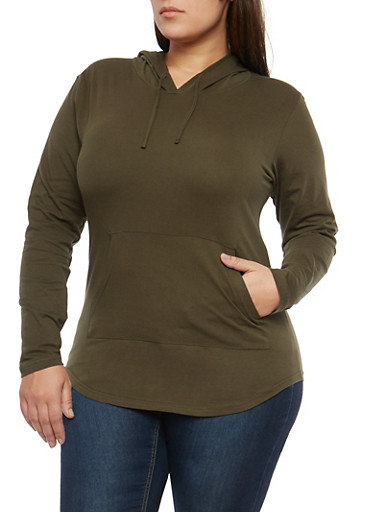 Plus Size Olive Hooded Top,OLIVE,large