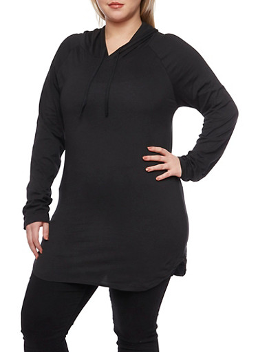 Plus Size Solid Hooded Tunic,BLACK,large