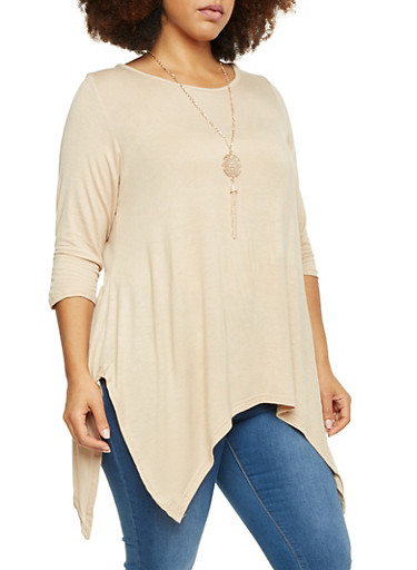Plus Size Sharkbite Hem Top with Necklace,KHAKI,large