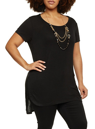 Plus Size Short Sleeve Top with Removable Necklace,BLACK,large