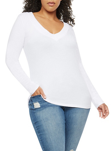 Plus Size Basic Wide V Neck Top,WHITE,large