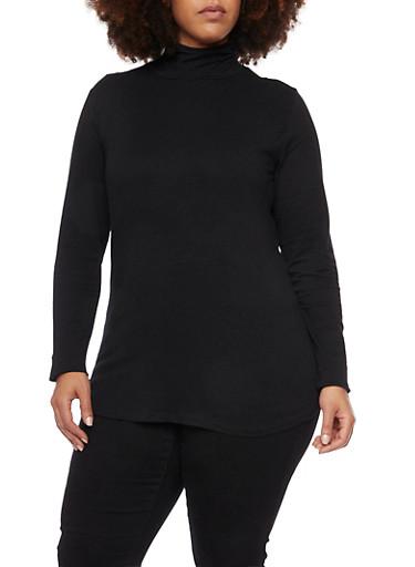 Plus Size Long Sleeve Turtleneck Top,BLACK,large