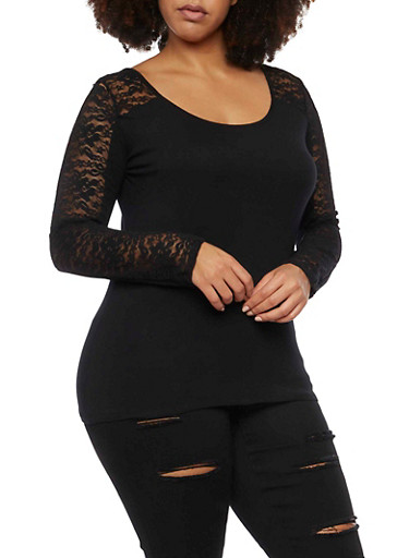 Plus Size Long Sleeve Top with Lace Paneling,BLACK,large