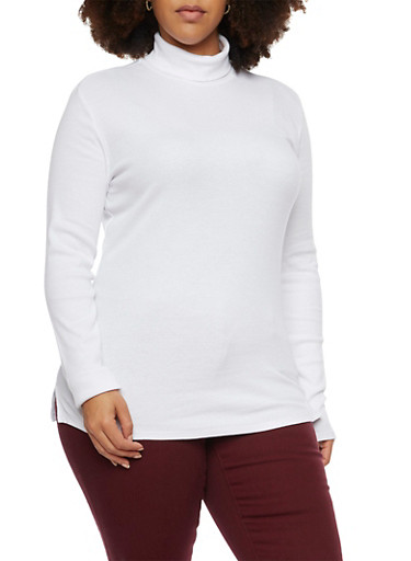 Plus Size Turtleneck Top in Ribbed Knit,WHITE,large
