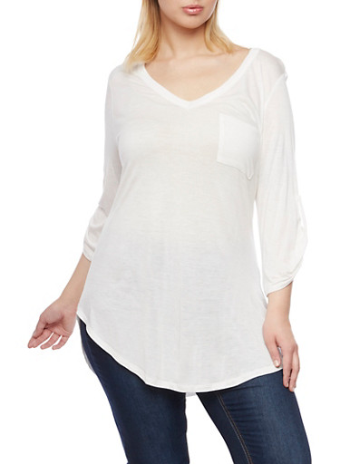 Plus Size V Neck Tunic Top with Button Cuff Sleeves,IVORY,large
