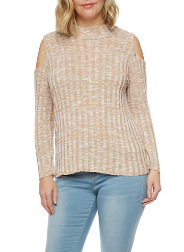 Plus Size Cold Shoulder Sweater,TAUPE,large