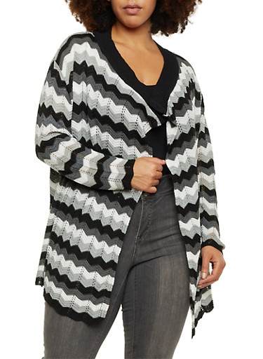 Plus Size Open Front Cardigan in Chevron Knit,BLACK-GREY-IVORY,large