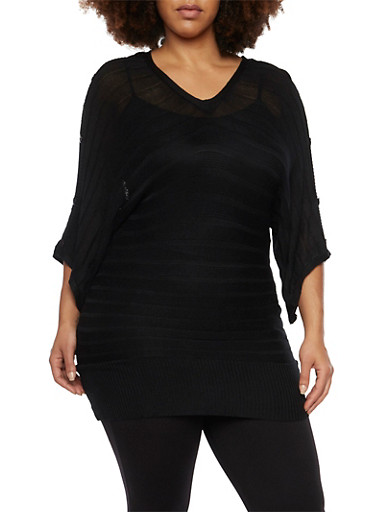 Plus Size Dolman Sleeve Sweater with Buttons,BLACK,large