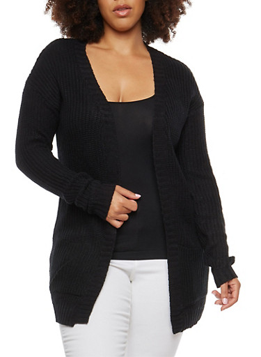 Plus Size Knit Cardigan,BLACK,large