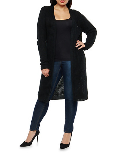Plus Size Knit Duster with Front Pockets,BLACK,large