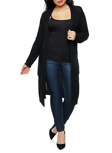 Plus Size Open Front Knit Duster,BLACK,large