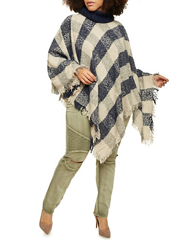 Plus Size Plaid Poncho with Turtleneck and Fringe Hem,NAVY,large