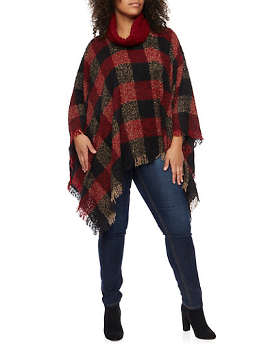 Plus Size Plaid Poncho with Turtleneck and Fringe Hem,BURGUNDY,large