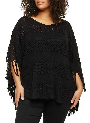 Plus Size Open Knit Poncho with Fringe,BLACK,large