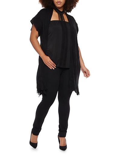 Plus Size Long Cardigan with Fringe Trim,BLACK,large