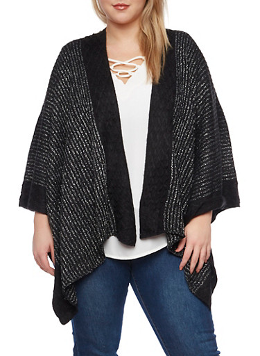 Plus Size Metallic Knit Kimono,BLACK,large