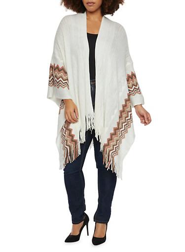 Plus Size Chevron Kimono with Metallic Threading,IVORY,large