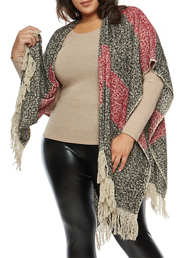 Plus Size Striped Fleece Shawl with Fringe,BLACK,large