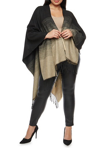 Plus Size Ombre Fringe Shawl,BLACK-CAMEL,large