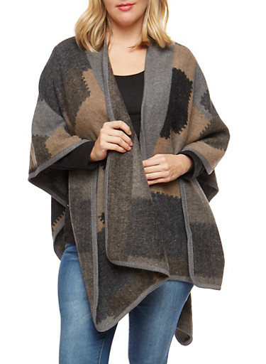 Plus Size Patchwork Print Shawl,GRAY,large