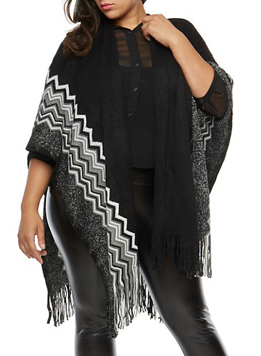 Plus Size Shimmer Knit Fringe Shawl,BLACK,large