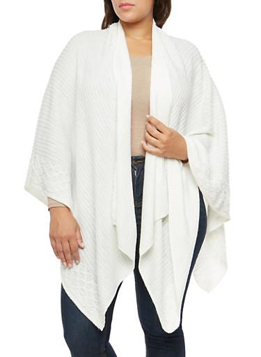 Plus Size Shimmer Woven Shawl,IVORY,large