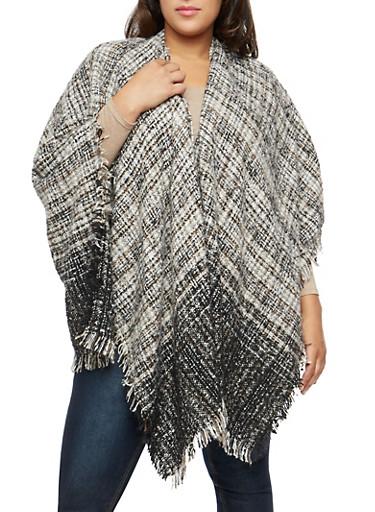 Plus Size Mixed Knit Shall with Fringe,BLACK,large