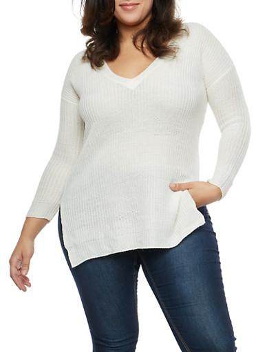 Plus Size Long Sleeve V Neck Sweater,IVORY,large