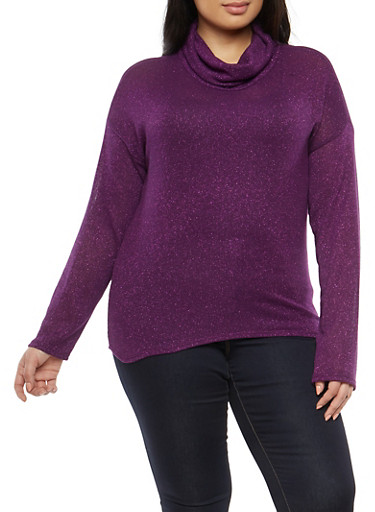 Plus Size Shimmer Knit Cowl Neck Sweater,EGGPLANT,large