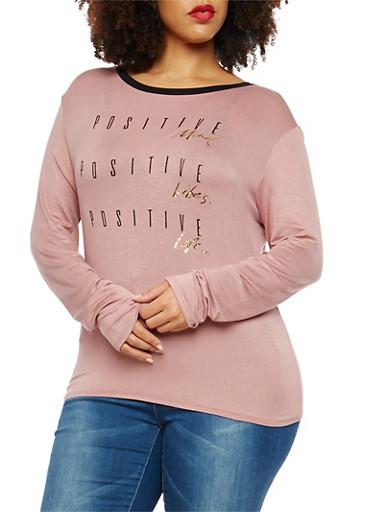 Plus Size Positive Graphic Long Sleeve T Shirt,MAUVE,large