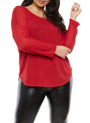 Plus Size Knit High Low Sweater,RED,large